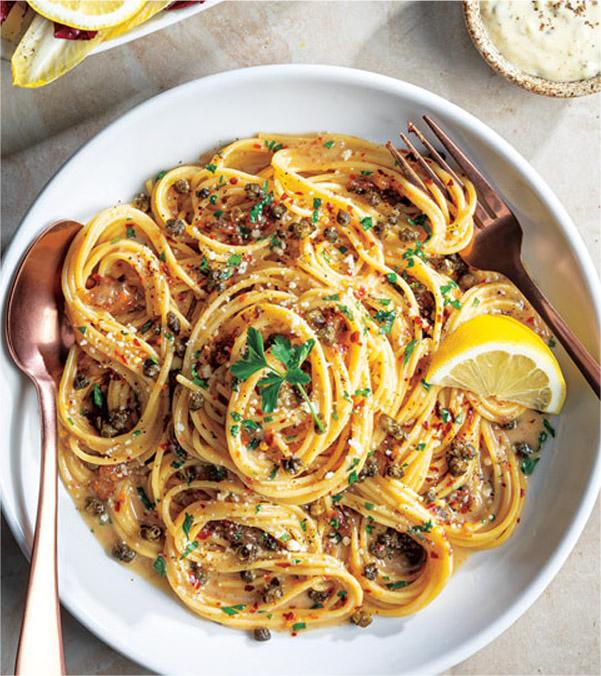 Anchovy Cacio e Pepe Spaghetti with Fried Capers