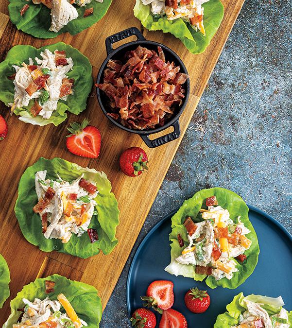 Bacon-Ranch Chicken Salad Lettuce Wraps