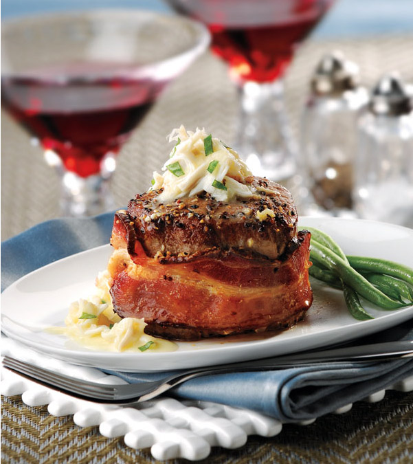 Bacon-Wrapped Filet Mignon with Crab Sauce