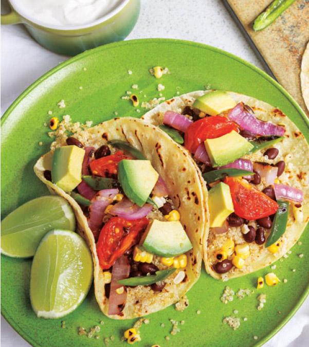 Black Bean, Quinoa & Grilled Veggie Tacos