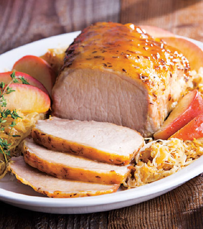 Brown Sugar-Mustard Pork Roast with Sauerkraut