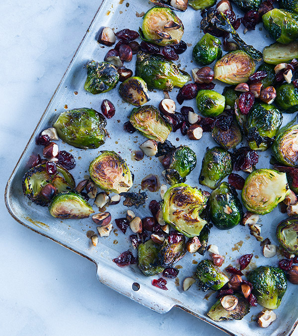 Brussels Sprouts with Dried Cranberries & Hazelnuts