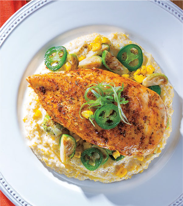 Cajun Chicken with Creamy Polenta and Spicy Roasted Vegetables