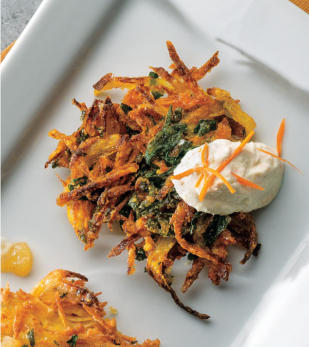 Carrot & Kale Latkes with Orange-Ginger Sour Cream
