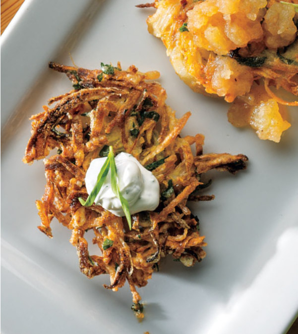 Celery Root & Fennel Latkes with Lemon-Tarragon Sour Cream