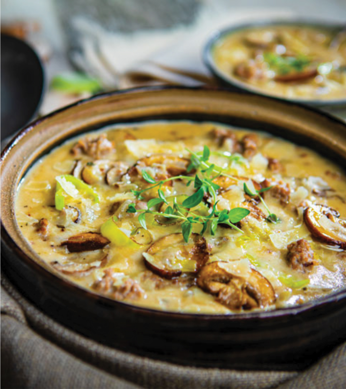 Creamy Sausage & Mushroom Soup