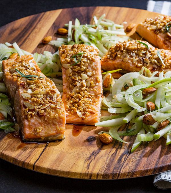 Crispy Honey Nut Baked Salmon with Almond-Fennel Salad