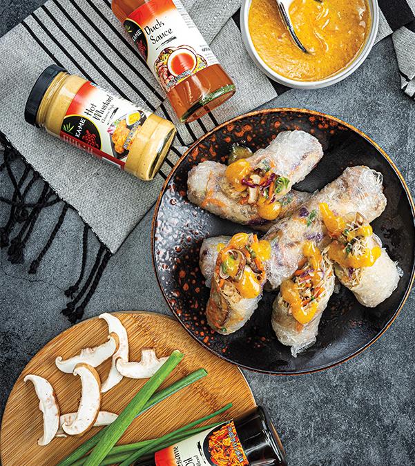 Crispy Mushroom Spring Rolls with Spicy Duck Sauce