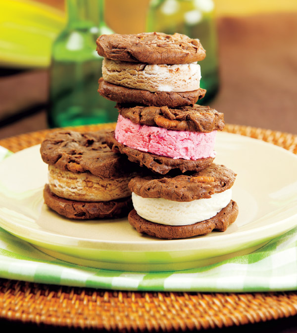 Double Chocolate Chunk Cookie Ice Cream Sandwiches
