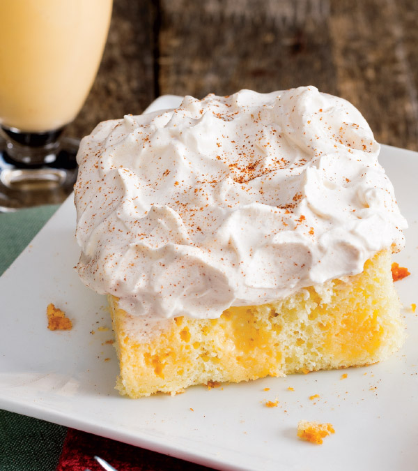 Eggnog Poke Cake with Cinnamon Whipped Cream