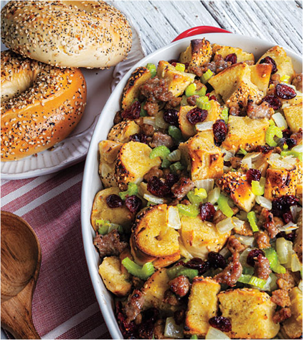 Everything Bagel Stuffing with Sausage and Cranberries