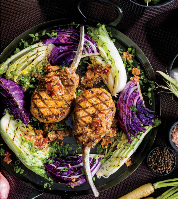 Grilled Applewood BBQ Tomahawk Pork Chops with Charred Cabbage & Mustard-Bacon Vinaigrette