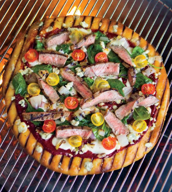 Grilled Balsamic Steak & Gorgonzola Pizza