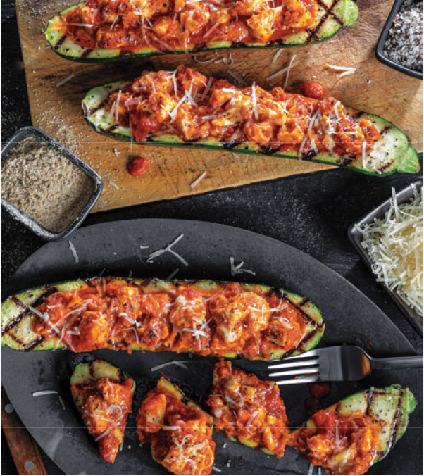 Grilled Chicken Parmesan Zucchini Boats