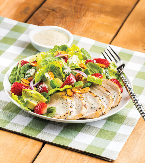 Grilled Chicken & Strawberry Salad with Sweet Onion-Poppy Seed Dressing