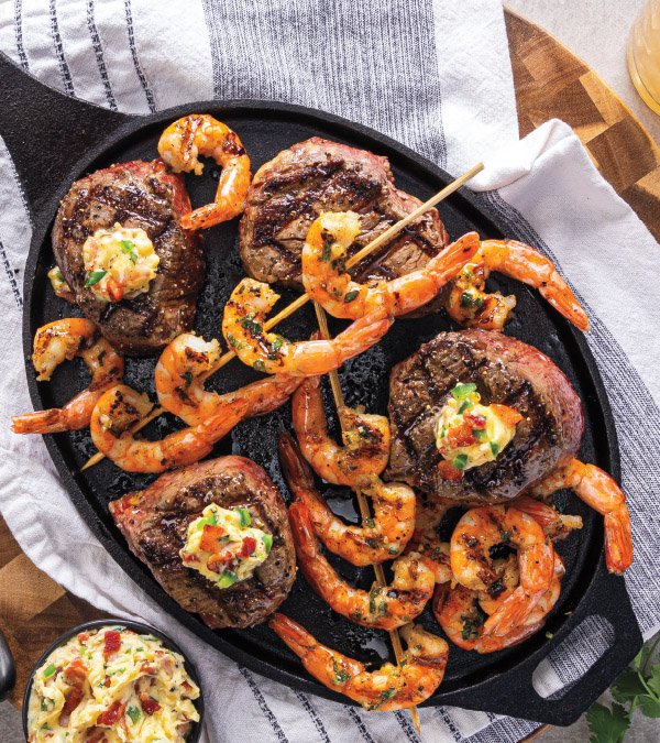 Grilled Filet & Shrimp with Bacon-Jalapeño Butter or Chili-Garlic-Basil Butter