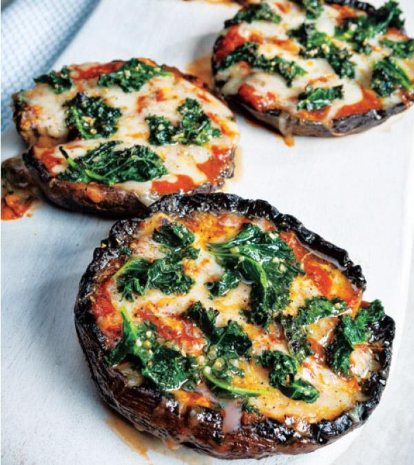 Grilled Garlicky Kale Portobello Pizzas