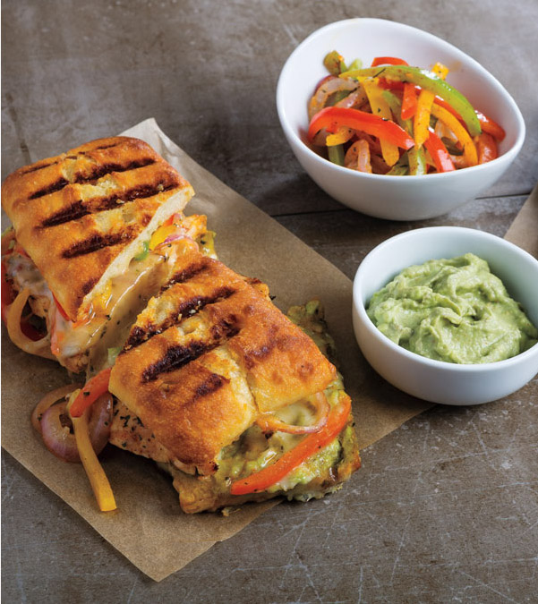 Grilled Lime Chicken & Bell Pepper Panini with Chipotle-Avocado Cream