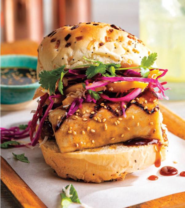 Grilled Mahi Mahi Sandwich with Mango-Coconut Slaw