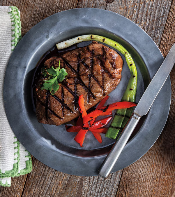 Grilled Orange-Teriyaki Steaks with Grilled Scallions & Bell Peppers