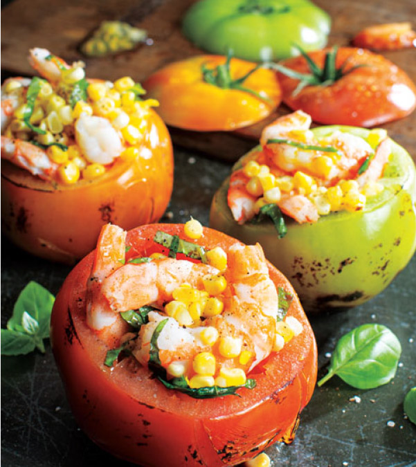 Grilled Shrimp & Sweet Corn-Stuffed Heirloom Tomatoes