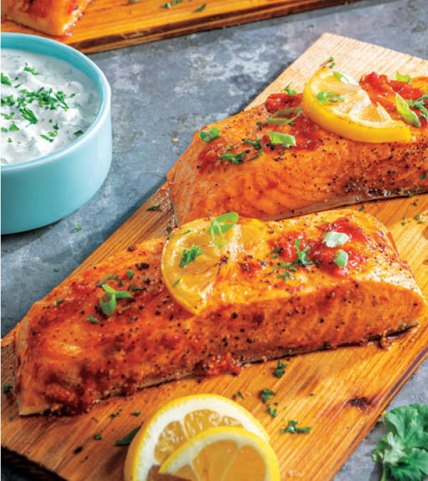 Harissa Cedar Plank Salmon with Herb Yogurt Sauce