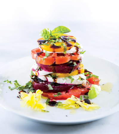 Heirloom Tomato, Mozzarella & Beet Stack