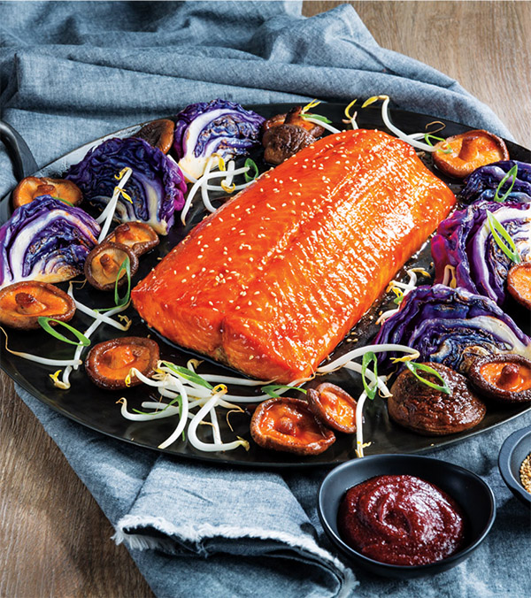 Maple-Gochujang Roasted Salmon with Shiitake Mushrooms & Charred Red Cabbage