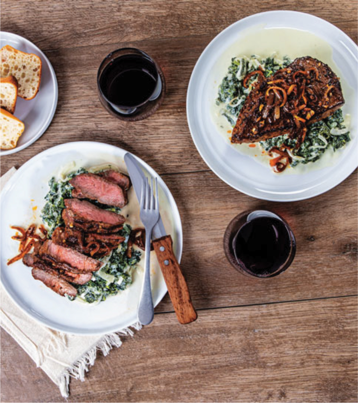 Pan-Roasted Cajun-Rubbed Strip Steaks with White Cheddar-Creamed Kale