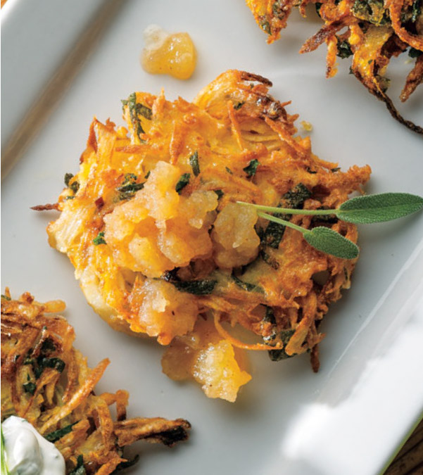 Parsnip & Sage Latkes with Cinnamon Applesauce