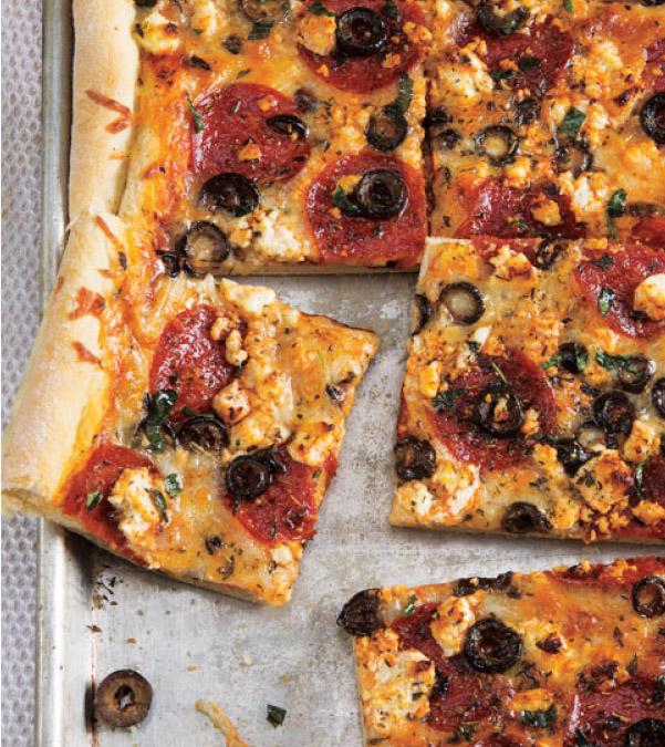 Pepperoni, Olive & Feta Pan Pizza