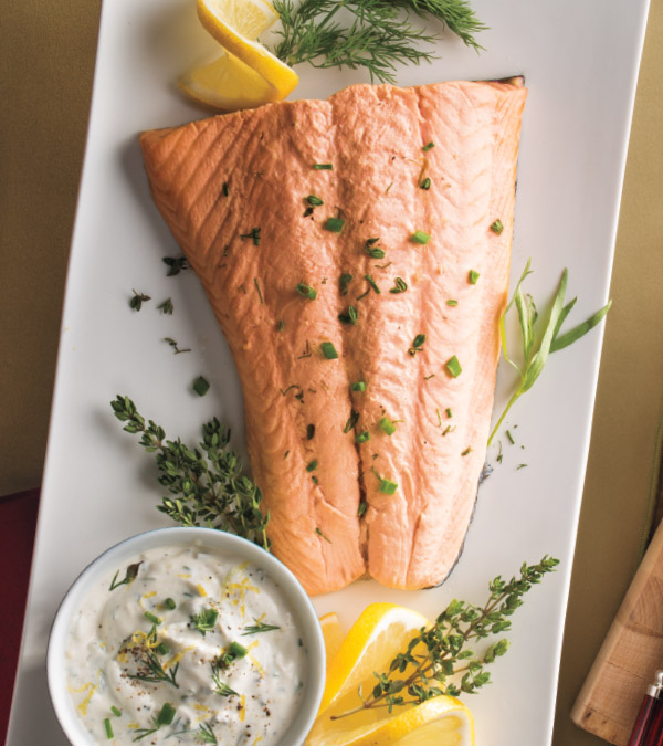 Poached Salmon with Creamy Herb Sauce
