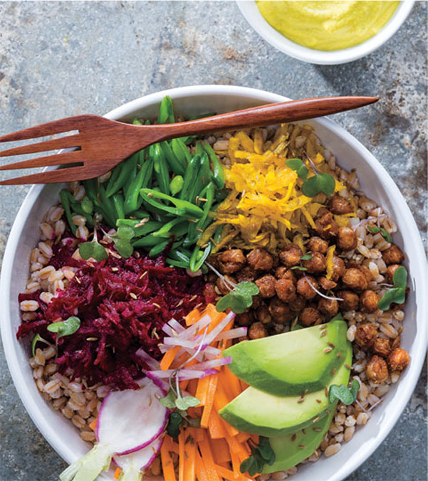 Raw Vegetable Bowl with Farro and Ginger-Cashew Cream