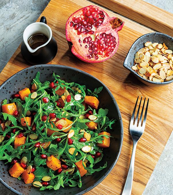 Roasted Squash, Pomegranate & Arugula Salad