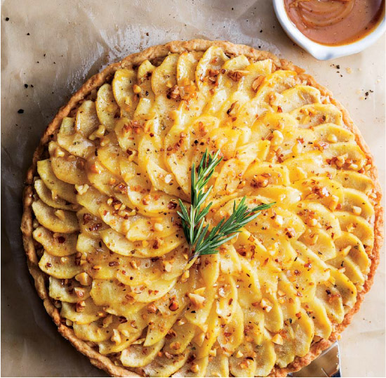 Rosemary-Scented Apple, Cheddar & Walnut Tart with Honey-Brown Butter Drizzle