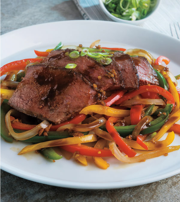 Sesame-Lime London Broil with Stir-Fried Veggies