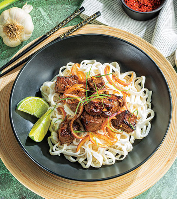Shaking Beef with Garlic-Coconut Noodles