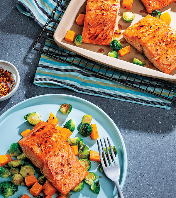 Sheet-Pan Honey Mustard Glazed Salmon with Roasted Vegetables