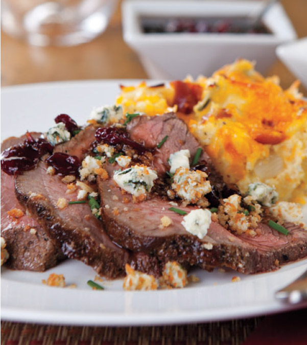 Sirloin Roast with Gorgonzola Crumble & Cranberry-Balsamic Sauce