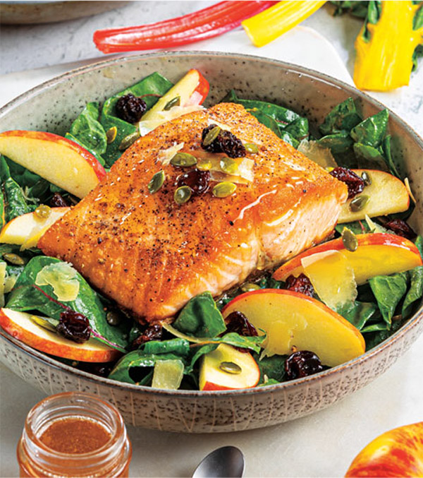 Skillet Salmon with Autumn Swiss Chard Salad