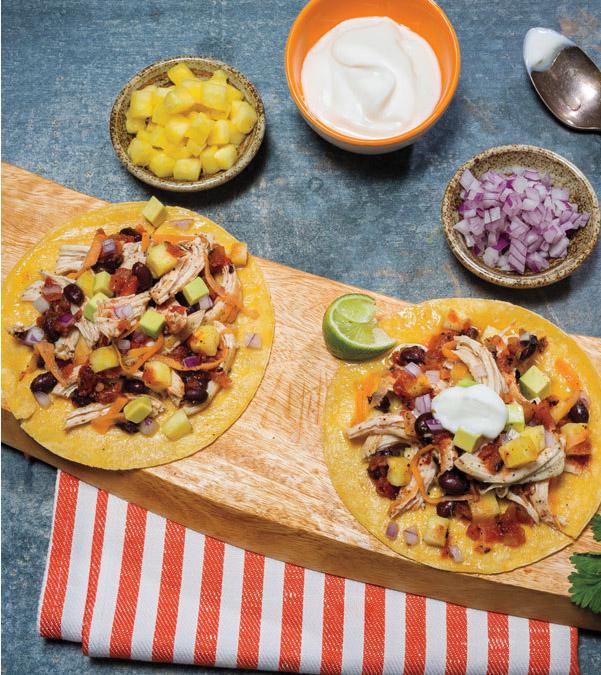 Slow Cooker Chicken, Sweet Potato & Pineapple Tacos