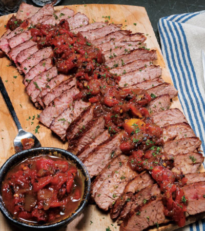 Slow Cooker Marinated Flank Steak with Savory Tomato-Onion Jam