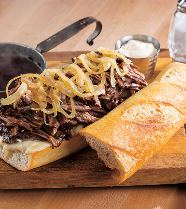 Slow Cooker Shaved Beef French Dip