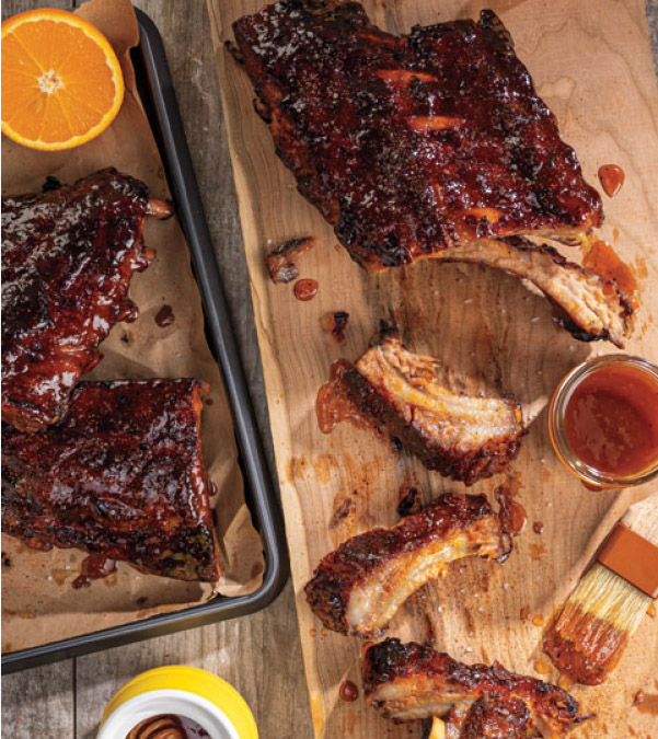 Smoked Baby Back Ribs with Honey-Orange BBQ Glaze