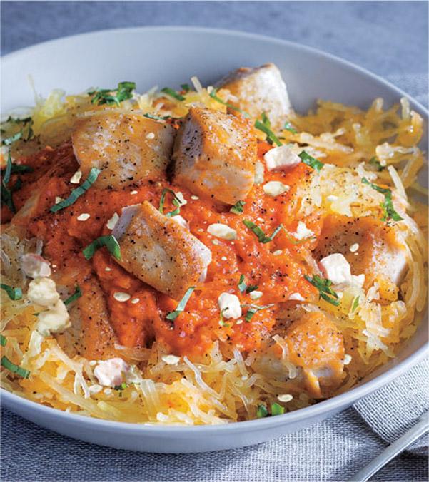 Spaghetti Squash with Chicken & Sun-Dried Tomato Sauce
