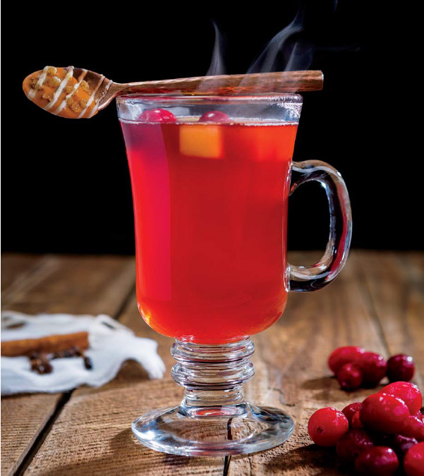 Spiced Pomegranate Mulled Cider with Cinnamon-Ginger Stirring Spoons