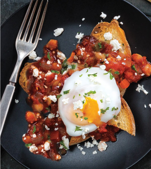 Spicy Peppers & Chickpeas in Tomato Sauce with Poached Eggs
