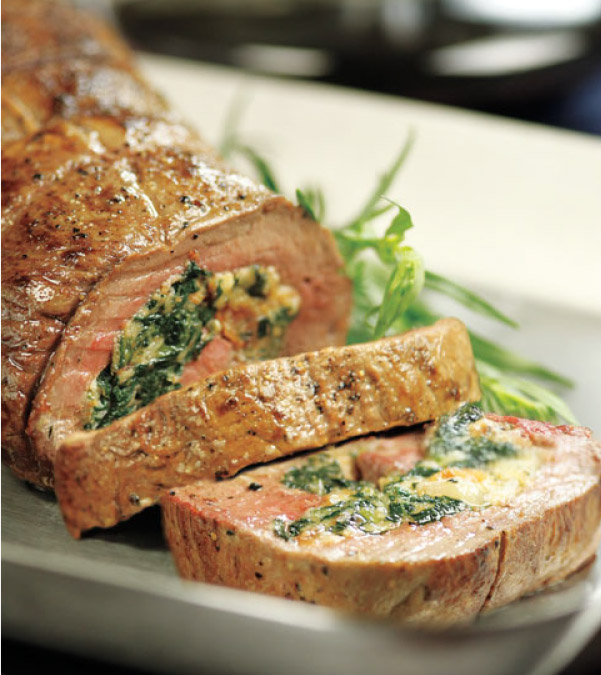 Spinach & Bacon Stuffed Beef Tenderloin