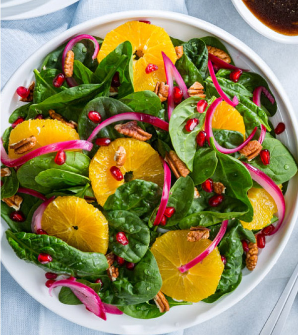 Spinach, Pomegranate & Orange Salad with Quick Pickled Red Onions