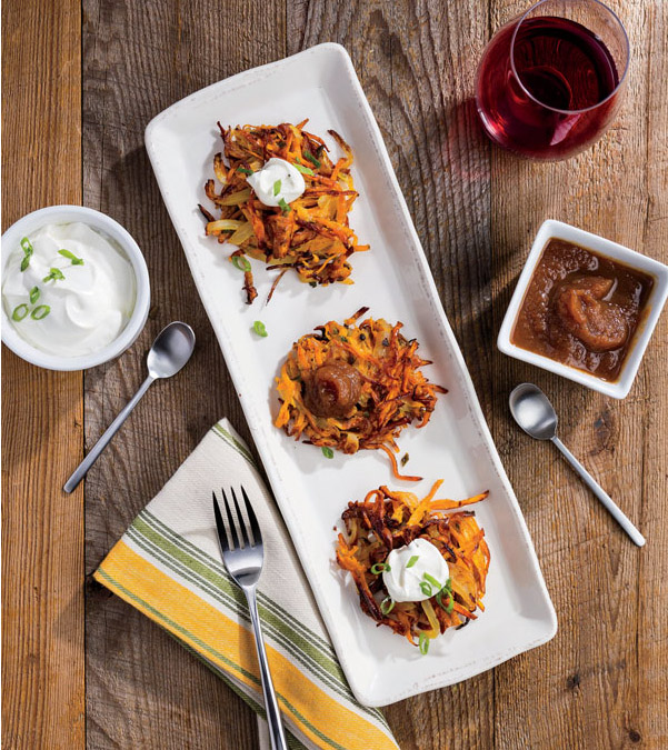 Sweet Potato Latkes with Spiced Apple Butter